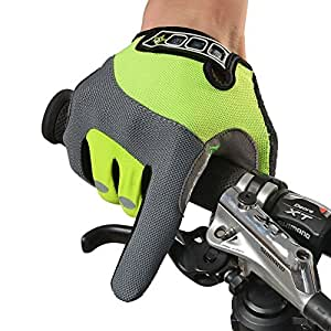 RockBros Outdoor Cycling Full Finger Gloves Bike Bicycle Gloves Breathable Anti-slip Reflective for Autumn Spring (Green, XL)
