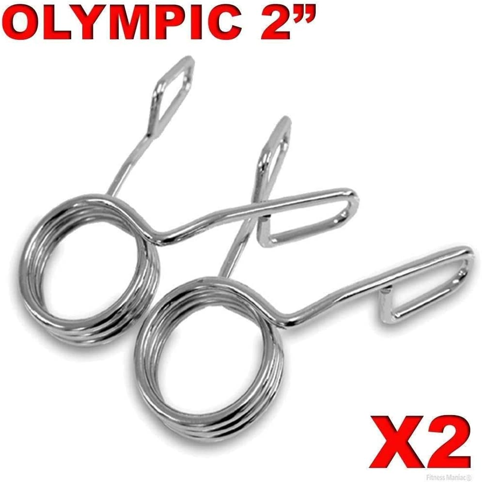 Moonrish 2-Pack Heavy Duty Design Olympic 2 Spring Collar Weight Bars Clips Dumbbell Barbell Clamp Bar Gym with 3 Cycle Ideal for Replacing Lost Or Damaged Collars