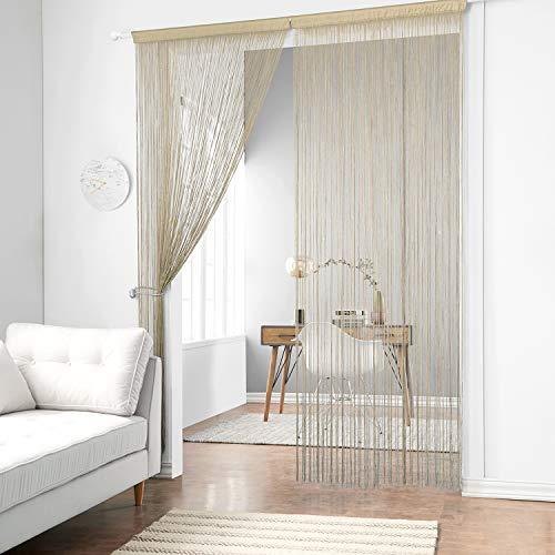 - Taiyuhomes Dense String Curtain Fringe String Door Curtain Panels Room Divider Fly Screen for Living Room (39x79,Ecru