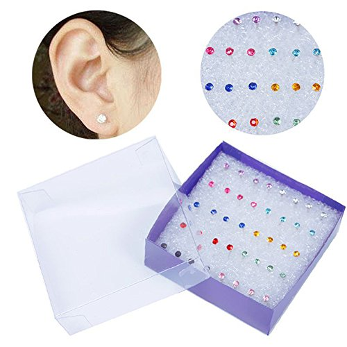 - Max Corner 20 Pairs Plastic Earrings Studs, Fashion Crystal Rhinestone Earring Post For Women Daily Jewelry