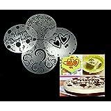 Syga Set Of 4 Decorative Baking Cake Stencils Tool Kit,Plastic,19.5 cm,Silver