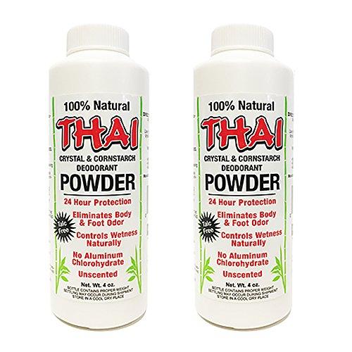 Thai Crystal Deodorant & Cornstarch Deodorant Foot Body Powder, Unscented, 2 Count