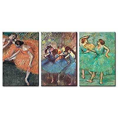 Incredible Creative Design, 3 Panel World Famous Painting Reproduction Dancers by Edgar Degas x 3 Panels, That's 100% USA Made