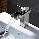 Rozin Waterfall Spout Basin Faucet Single Lever Bathroom Sink Mixer Tap Brushed Nickel