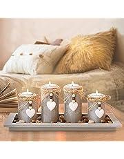 GoMaihe Świecznik na podgrzewacze, 4 sztuki, świecznik na świece, dekoracja stołu, dekoracja salonu, sypialni, na balkon, do łazienki, dekoracja na Boże Narodzenie, dekoracja bożonarodzeniowa, wielorazowa