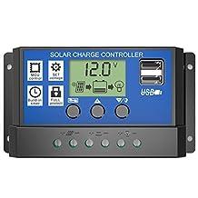 SODIAL(R) LCD 12V/24V Solar Panel Controller Regulator Charge Battery Protection, 30A