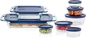 Pyrex Easy Grab Glass Bake 'N Store Glass Food Containers with Blue BPA Free Plastic (16 piece set)