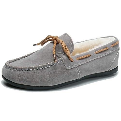 Mocasines De Mujer Zapatos Planos De Bowtie ResbalóN En Piel De Felpa Corta Pisos De Gamuza SintéTica Calzado De Barco CáLido: Amazon.es: Zapatos y ...