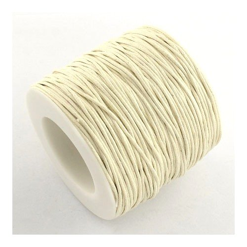 Continuous Length 5m x Cream Waxed Cotton 1mm Thong Cord - (Y06395) - Charming Beads Something Crafty Ltd