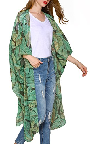 (Hibluco Women's Casual Oversized Floral Kimono Cardigan Sheer Tops Loose Blouse)