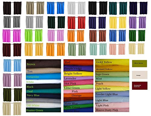 (Blackout Solid Color Curtains, Cafe style, 32 colors, Block Out Light, Thermal, Campers, RV, Daycare schools, bathrooms, Kitchen, small windows, Basement, Tiers, Custom Size, 24