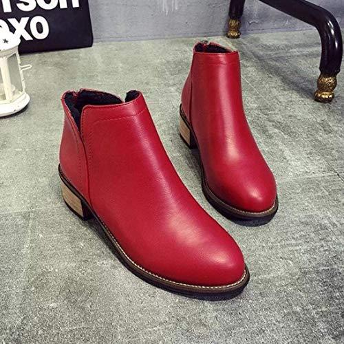 Royaume Zhrui Taille Uni Rouge Heel Gris 4 Boots Women Fashion Stiletto Women Couleur Ankle en PPr1wqz