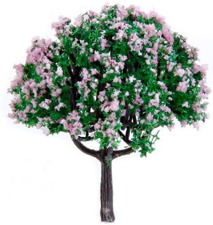 chiwanji 樹木模型 モデルツリー ピンクの花 緑の葉 マイクロ風景 ジオラマ 情景コレクション 鉄道模型 約20個