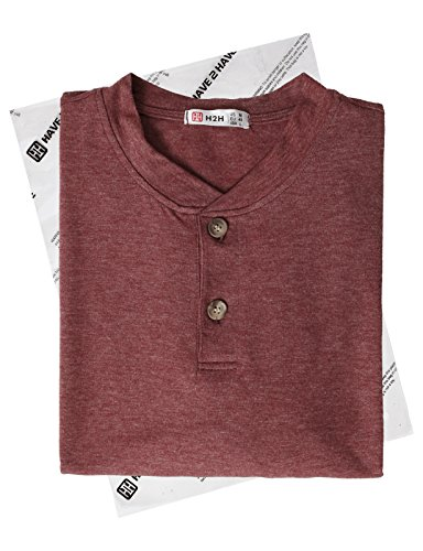 H2H Mens Stylish Tops Slim Fit Casual Fashion T-Shirts Polo Shirt Long Sleeve Tee DARKMAROON US M/Asia L (CMTTS0205) by H2H (Image #6)