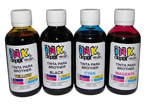 Juego de 4 Tintas marca INK Depot Tipo INOBELLA Compatible con cualquier multifuncional BROTHER para recarga de Cartuchos,...