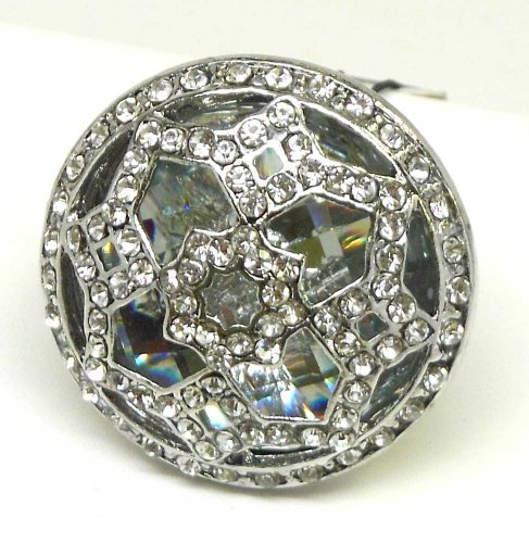 Lux Accessories Pave Vintage Ring w/ Stone Detail (Vintage Glamour Costumes)