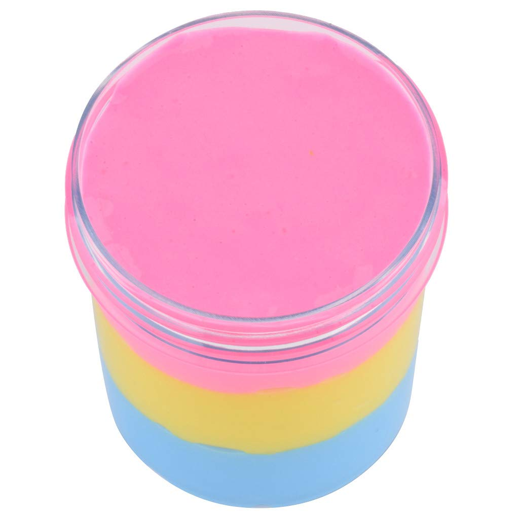 Wenjuan 120ml Fluffy Cloud Slime - Three Layer Mixing Mud - Floam Cotton Putty - Scented Stress Slime Supplies - Kids Clay Toys Gift (A)