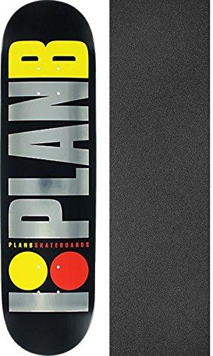 Plan B Team OG Logo Skate Deck-8.0 BK/SIL/YEL/RD blk.ice w/Mob Grip