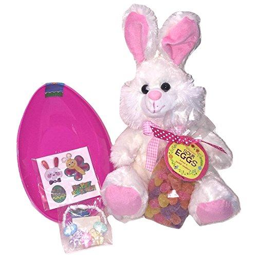 Pink & White Easter Bunny Plush, Jumbo Plastic Egg-Shaped Co