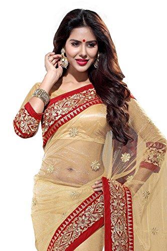 Mirchi-Fashion-Womens-Net-Zari-Wedding-Party-Wear-Indian-Saree-Free-Size-Beige