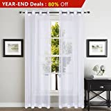 YOJA Sheer Window Curtain Voile Panels with Grommet Top, 2-Pack, 52 by 96-inch, Solid White For Sale