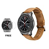 Samsung Gear S3 Watch Leather Band, Watch Replacement Smartwatch Wrist Bracelet Band 22mm For Samsung Gear S3 Frontier Classic Strap + Tempered Glass Screen Protector Light Brown
