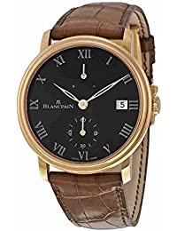 Villeret 8 Days Black Dial Black Leather Mens Watch 6614-3637-55B