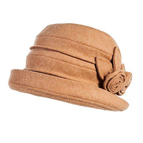 Siggi Womens Vintage Wool Felt Cloche Bucket Bowler Hat Winter Foldable Camel Women Bowlers