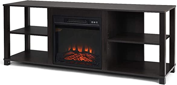 Moccha 2-Tier Wood Fireplace TV Stand