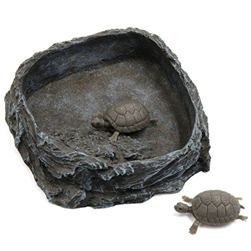 (uxcell Dark Gray Resin Bowl Pets Feeding Plate Food Water Dish for Reptiles Tortoises)