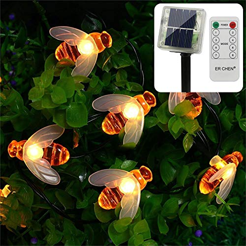 ErChen Remote Control Solar Powered String Lights, 30 Cute Honeybee Led Lights, 15FT 8 Modes Waterproof Fairy Decorative Light for Outdoor, Garden, Patio, Wedding, Party (Warm - Cluster Christmas Ornament