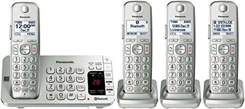 PANASONIC Link2Cell Bluetooth Cordless DECT 6.0 Expandable Phone System with Answering Machine and Enhanced Noise Reduction - 4 Handsets - KX-TGE474S (Silver)