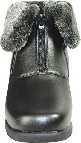 KOZI Women Winter Boots SH4533 Fur Lining Ankle Bootie Black 8.5M J7mK1XMi