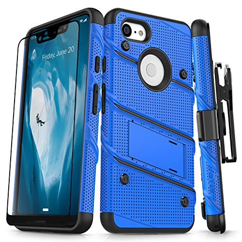 Zizo Bolt Series Compatible with Google Pixel 3 XL Case Military Grade Drop Tested with Full Glass Screen Protector Holster and Kickstand Blue Black
