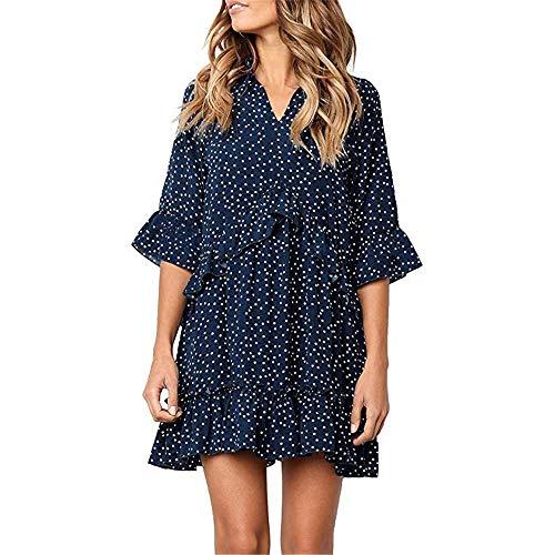 (Exlura Women's Ruffle Polka Dot V Neck Bell Sleeve Dress Casual Loose Swing T-Shirt Dress Navy Blue)