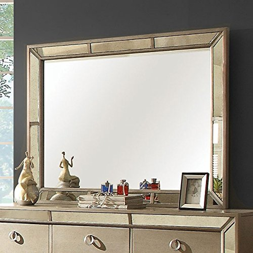 (Loraine Glam Style Beveled Mirror With Antique Mirror Silver Grey Finish )
