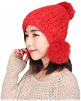 Queenshiny Women's 100% Real Genuine Mink Fur Knitted Hat with Balls