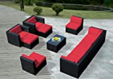 Ohana 11-Piece Outdoor Wicker Patio Furniture Sectional Conversation Set with Weather Resistant Cushions, Red (PN1005Red) For Sale