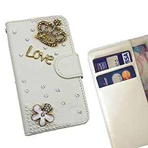 Crown Love Crystal Diamond Waller Leather Case Cover 3D Bling For LG Joy H220 /- THE- /