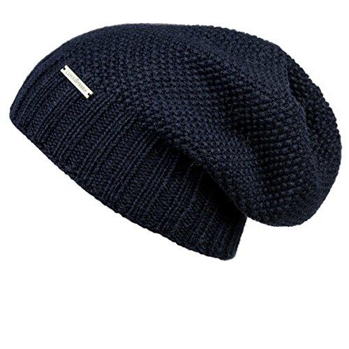 LUNA & TERRA - TRIESTE Hat Beanie Hand Knitted 100% BABY ALPACA (Navy Blue)
