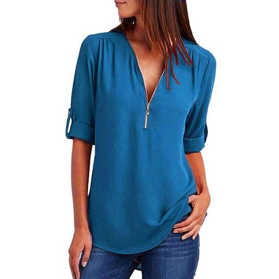 JiaMeng Camisas Mujer, Camisetas Mujer de Manga Larga de Blusa Casual Tops Suelta Top Blusa