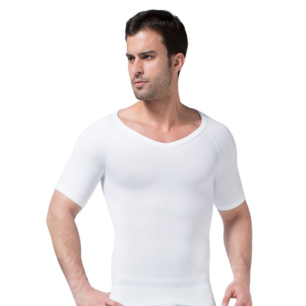YFFUSHI Men's Comfortable Corset Vest Slim Elastic Body Shaper Short Sleeve Undershirt YD349