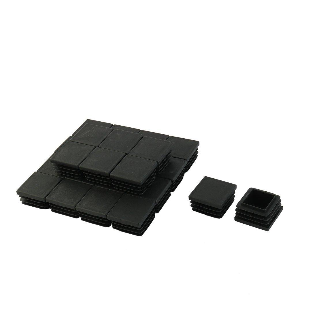 sourcingmap 24 pz. 30mm x 30mm Plastica A coste Quadrato Tappi Tubo Inserto Nera a14091000ux0081