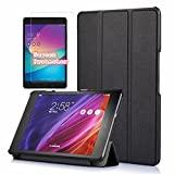 Asus Zenpad Z8s Case With Premium Screen Protector, I VIKKLY [Tri-Fold] Ultra Slim Stand Smart Case with Auto Sleep/Wake Function Cover for ASUS ZenPad Z8s ZT582KL 7.9 inch Tablet 2017 Release (Black)