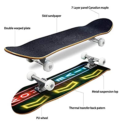 EFTOWEL Skateboards Live Show 0 Sign on Brick Wall 0 Stock Illustrations Classic Concave Skateboard Cool Stuff Teen Gifts Longboard Extreme Sports for Beginners and Professionals : Sports & Outdoors