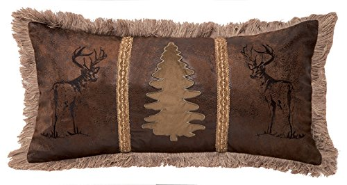 Carstens, Inc Buck and Tree Faux Suede Decorative Pillow, 14