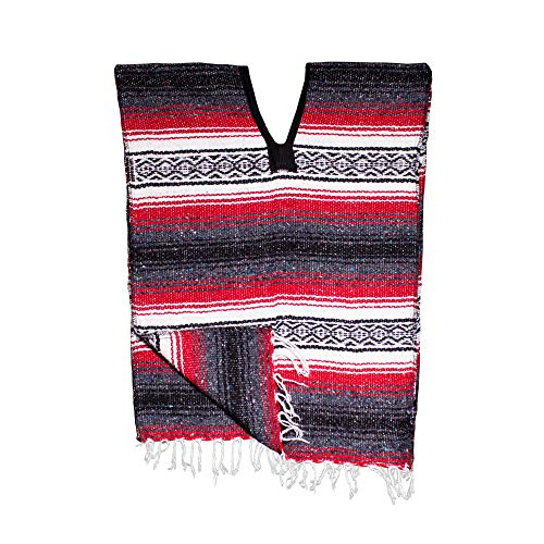 Windy City Novelties Child Stripe Poncho Black Red]()