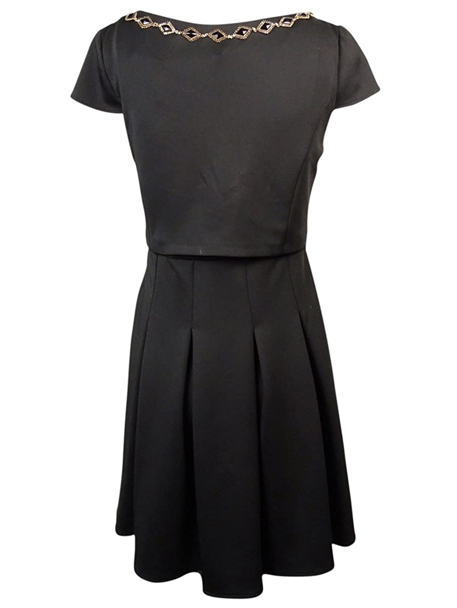 Betsey Johnson New Black Cap-Sleeve Jewel Dress 2 $158 DBFL