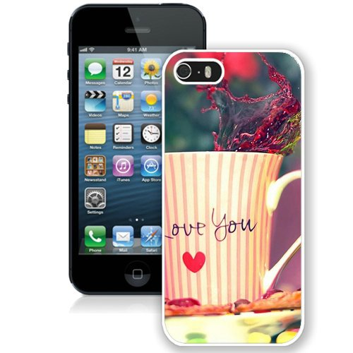 Coque,Fashion Coque iphone 5S I Love You Tea Cup Valentines Day Gift blanc Screen Cover Case Cover Fashion and Hot Sale Design