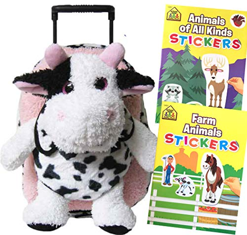 Multiple Toddler Travel Buddy Cow Stuffed Animal Removable Plush Roller Backpack Bundle with 2 Travel Sticker Activity Books (Cow)